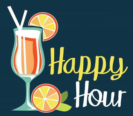 hour glasses: happy hour  Illustration