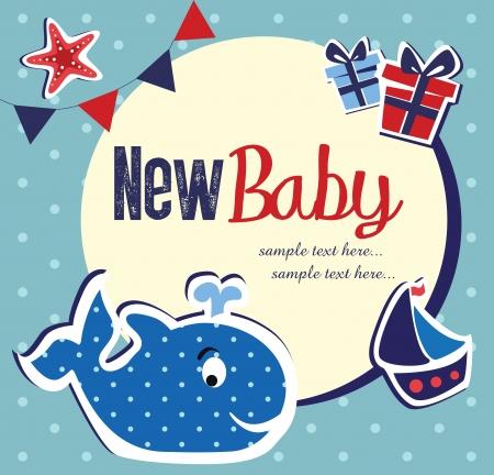 whale: baby shower card design  vector illustration