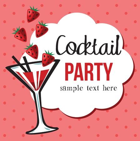 Vintage Cocktail Party Invitation Иллюстрация