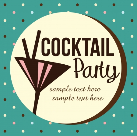 evening party: Vintage Cocktail Party Invitation Illustration