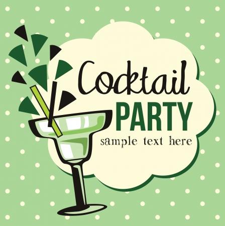 happy hours: Invitation de cocktail Vintage Illustration