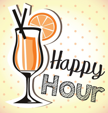happy hour drink: happy hour Illustration