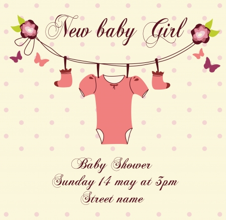 cute baby shower invitation card baby arrival card Stock Vector - 23353075