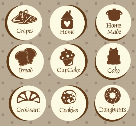 crepes: Bakery, pastry icons set,stickers - bread, donut, cake, cupcake
