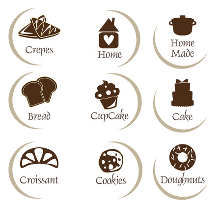 Bakery, pastry icons set,stickers - bread, donut, cake, cupcake Vetores