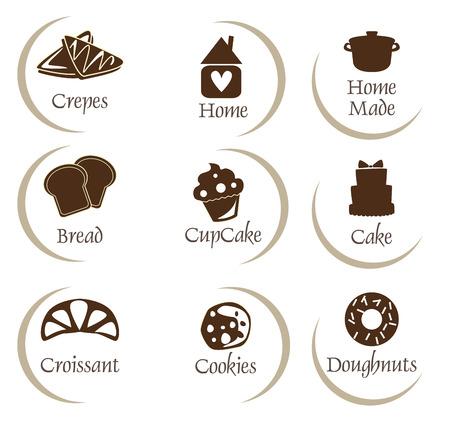 crepas: Panadería, iconos set de pastelería, pegatinas - pan, donuts, pasteles, magdalena Vectores