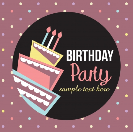 Birthday card, birthday cake with candles and decorations Vector