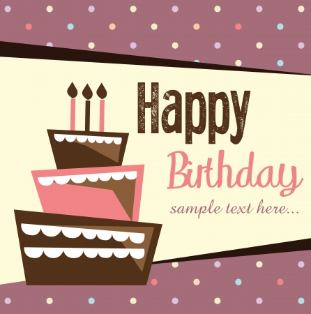 Birthday card, birthday cake with candles and decorations Illustration
