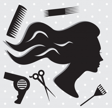 Hair salon background with woman face Vector