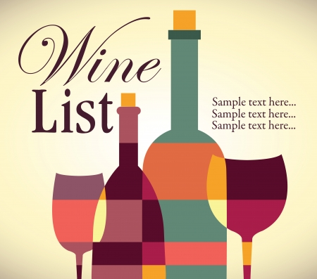 food and wine: Wine list design Illustration