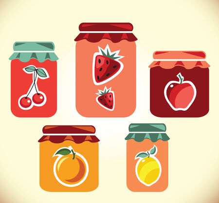 jams: Jams collection  Strawberry jam  Cherry jam  Set of different confitures  Isolated pots of jam  Jam jar Stock Photo
