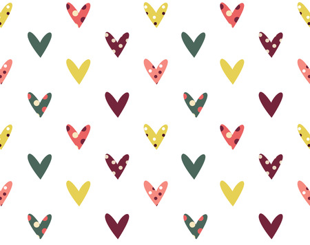 retro seamless pattern with colorful hearts photo