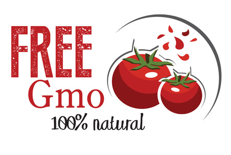 cartoon menu: tomatoes,natural,free gmo