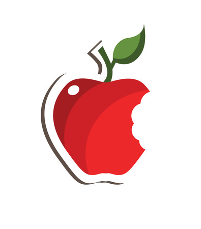 apple bite: Red bitten apple with leaf isolated over white