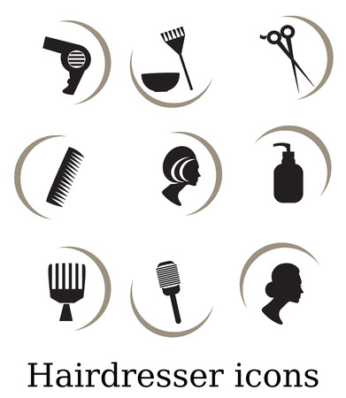 hairstylist: Hairdressing objects,icons Stock Photo