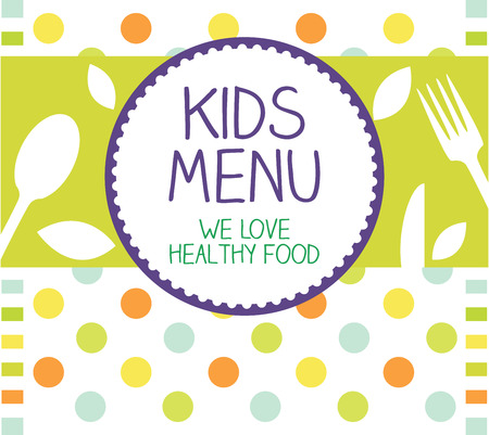 healthy lunch: Kids Menu Card Design template  Stock Photo