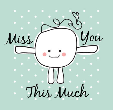 miss you: simple doodle with miss you text Stock Photo