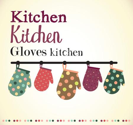 pot holder: Kitchen gloves illustration Stock Photo