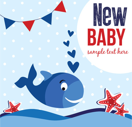 whales: baby shower card design