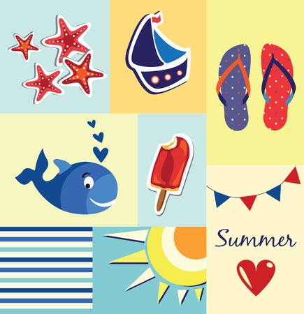 summer poster cards Vector