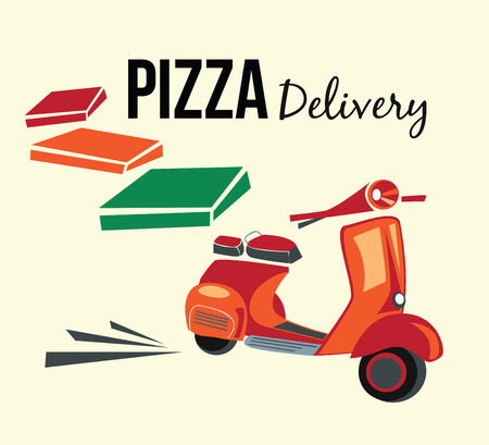 moped: Pizza delivery,retro style poster