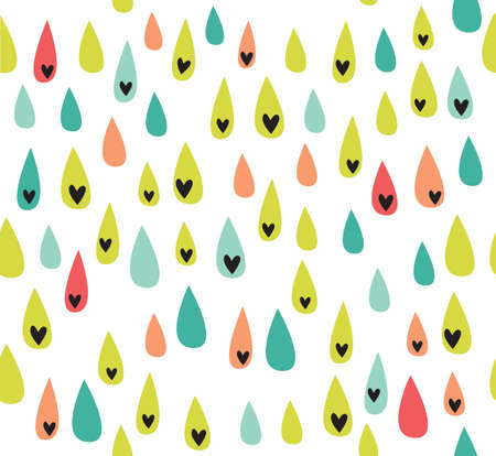 scandinavian people: Cute seamless love texture. Endless ornamental pattern with drops. Template for design fabric, covers, backgrounds, package Stock Photo