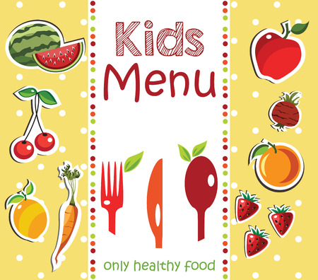 healthy meal: Kids Menu Card Design template.
