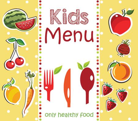 food menu: Kids Menu Card Design template.