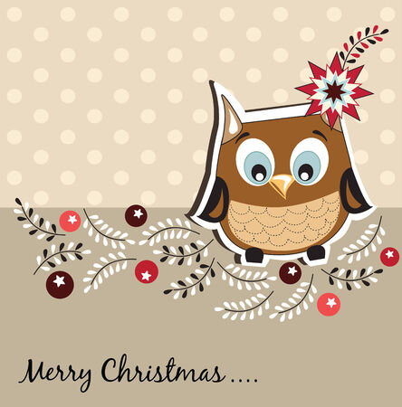 Christmas card with owl Vector