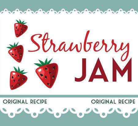 strawberry jam: vintage strawberry jam card Illustration