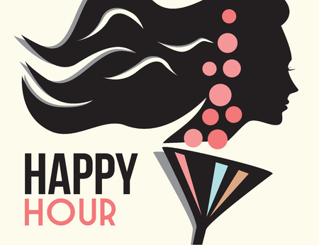 vector girl: happy hour Illustration