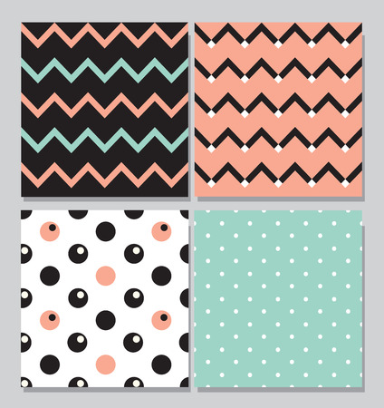 pink and black: Collection of 4 card templates, seamless tile pattern