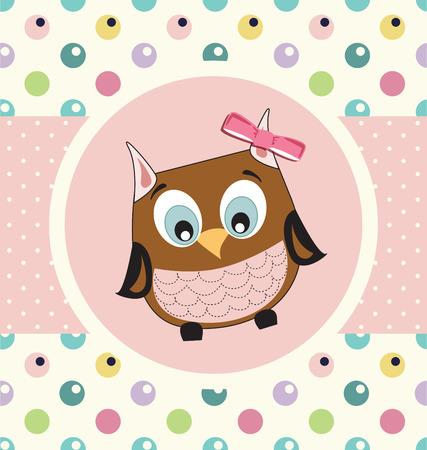 baby girl: Baby girl shower owl card