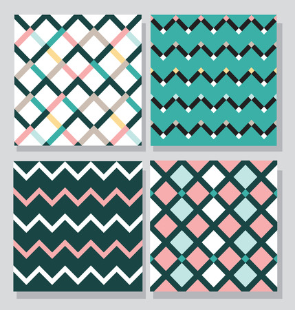 green card: Collection of 4 card templates, seamless tile pattern