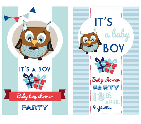 baby boy shower invitation card template with cute owl