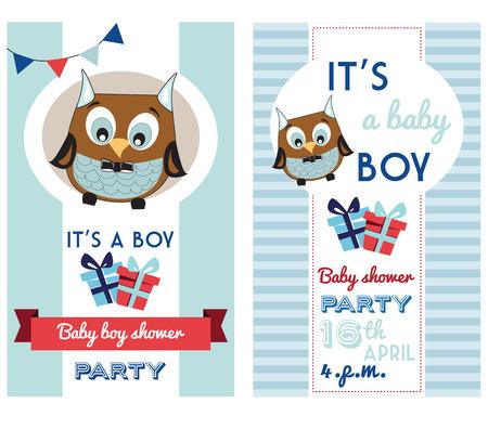 kid vector: ducha del bebé plantilla de tarjeta de invitación con Búho