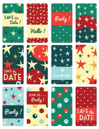 star pattern: Set of vector card templates with star pattern background.
