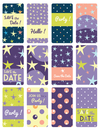 star pattern: Set of vector card templates with star pattern background. Ideal for Save The Date, baby shower, mothers day, valentines day, birthday cards, invitations.