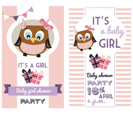 1st birthday: baby girl shower invitation card template with cute owl