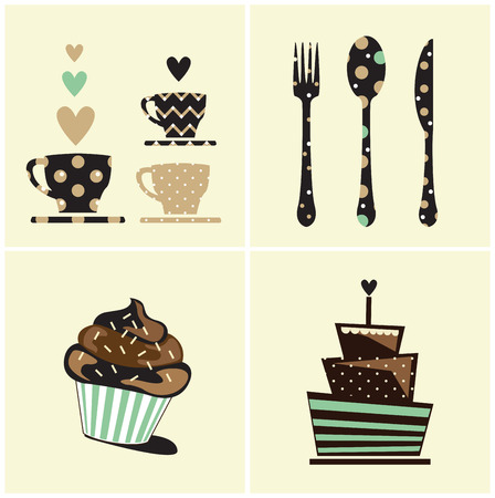 coffee and cake: vector cute cupcake,cake,coffee,food card Illustration