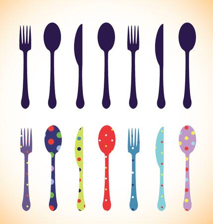 cuchara: Tenedor, cuchara y cuchillo, conjunto de colores Vectores