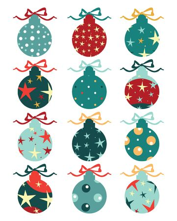 moños de navidad: Christmas balls on gift bows isolated on white. Set. Vectores