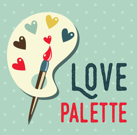 palette: Art palette with paint brush flat icon,can be used as a poster Illustration