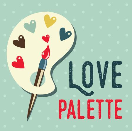 paleta de pintor: Arte paleta de pintura con pincel plano icono, se puede utilizar como un cartel