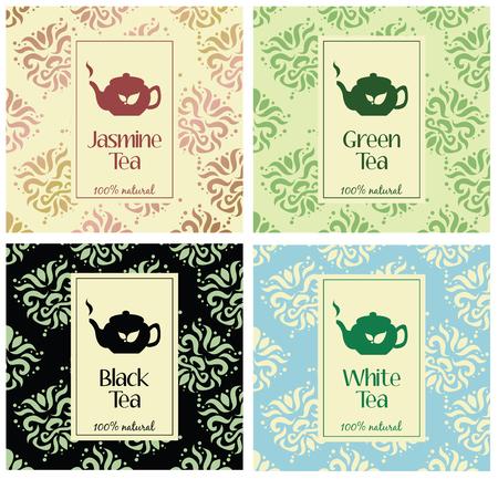 set designelementen en iconen in trendy lineaire stijl voor theepakket - wit, zwart en groen thee Stock Illustratie