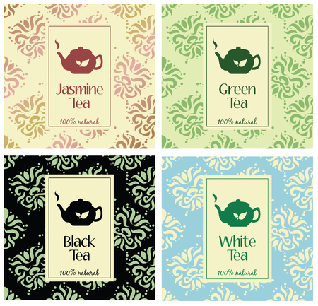 set of design elements and icons in trendy linear style for tea package - white,black and green tea