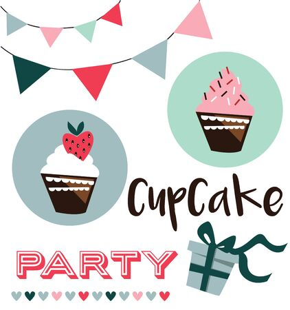 cup cakes: Card with cup cakes,party invitation