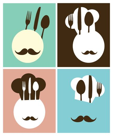 restaurante italiano: sombrero de chef cartel retro