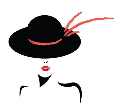 black hat: women elegant hat with bow for ladies and red lips