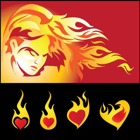 Hete meisje en liefde vlam
